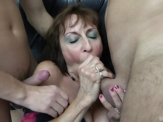 Two younger guys team up to charge from dirty adult nourisher Dana. HD
