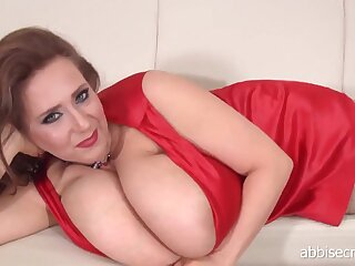Mom Abbi Secraa in red threads - solo off colour striptease together with teat play